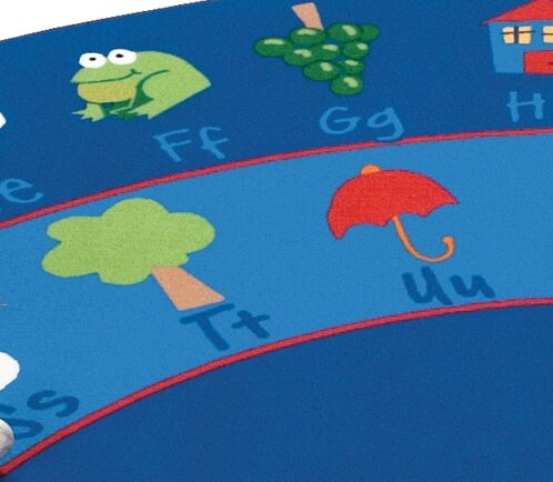 Literacy Tufted Blue/Red Area Rug