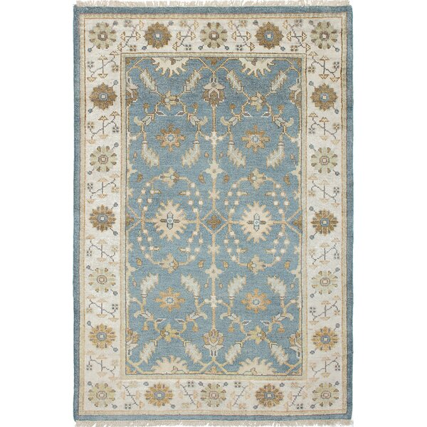 One-of-a-Kind Doggett Hand-Knotted Rectangle Sky Blue Area Rug by Isabelline