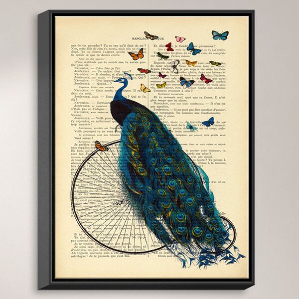Dianochedesigns Peacock Bicycle Butterflies Frame Graphic Art Print On Canvas Wayfair