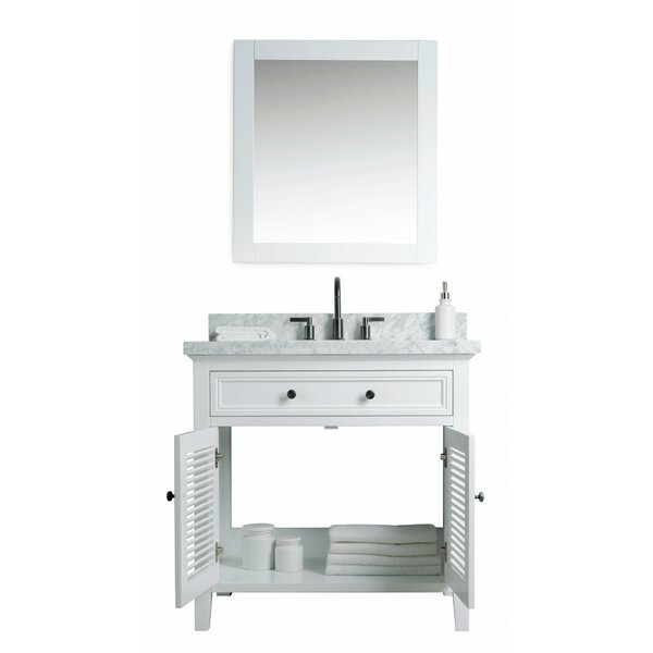 Davisboro Solid Wood 37 Single Bathroom Vanity Set with Mirror by Laurel Foundry Modern Farmhouse