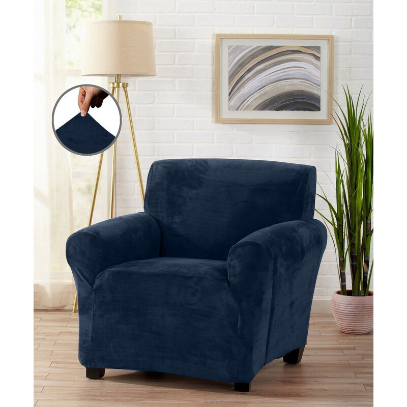 Navy Velvet Plush Form Fit Stretch Box Cushion Armchair Slipcover by Winston Porter