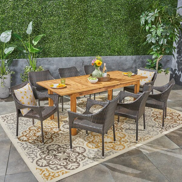 Bruton Outdoor Expandable 9 Piece Dining Set
