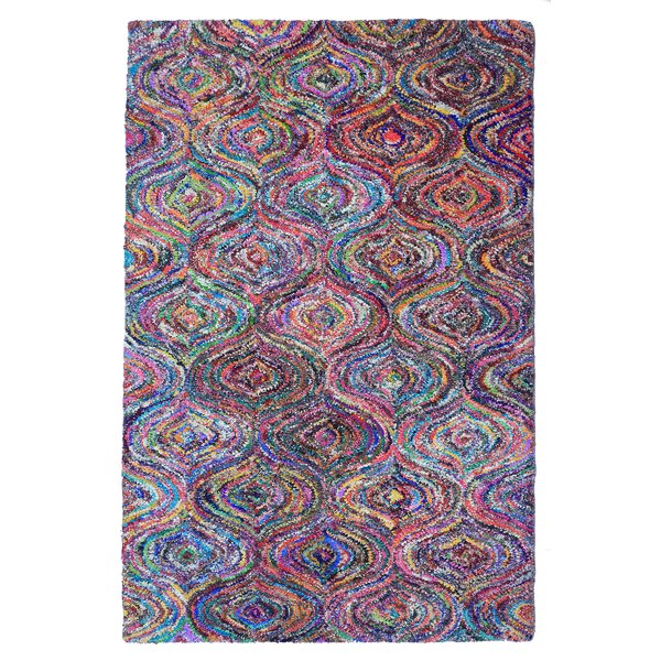 Doster Moroccan Hand-Knotted Pink/Red Area Rug by Bungalow Rose