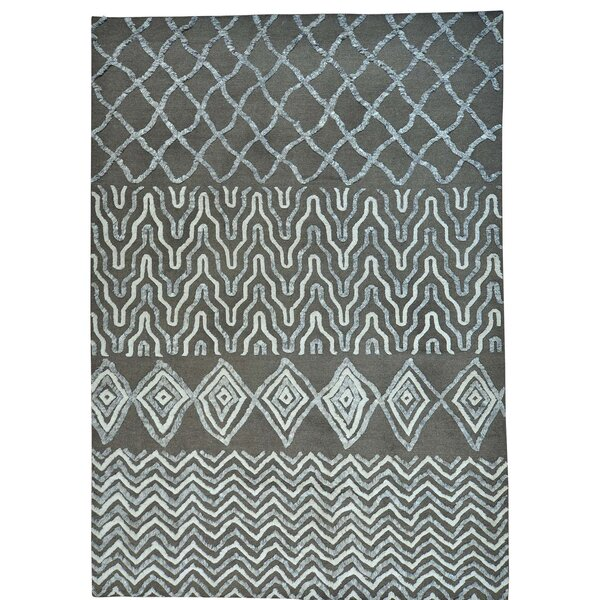 One-of-a-Kind Sebbie Berber High Low Hand-Knotted Blue Area Rug by Bungalow Rose