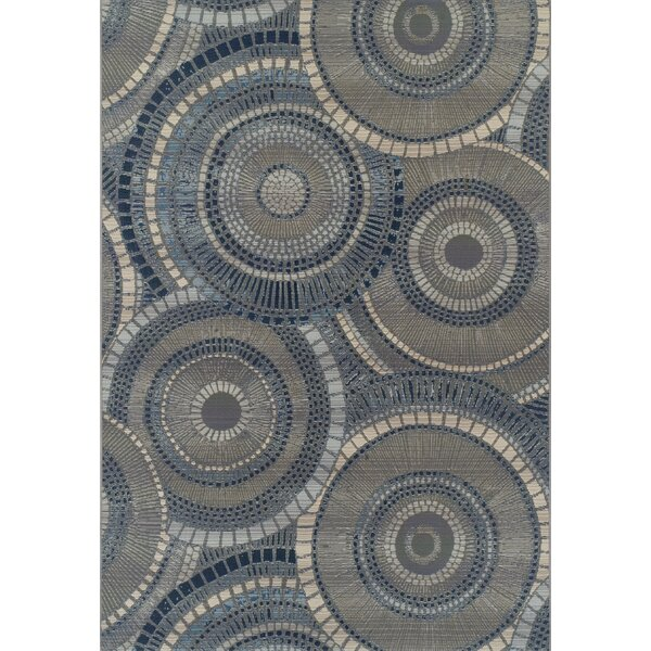 Thistle Gray/Indigo Indoor/Outdoor Area Rug by Bloomsbury Market