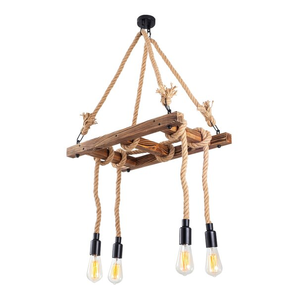 Clabaugh 4 - Light Unique Rectangle Chandelier with Rope Accents by Breakwater Bay Breakwater Bay