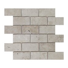 Light Tumbled 2 x 4 Travertine Mosaic Tile in Brown/Gray