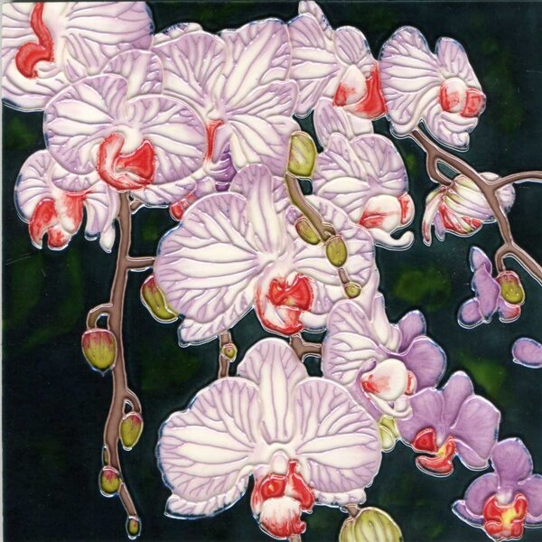 Lavender and White Orchid with Black Background Tile Wall Decor by Continental Art Center