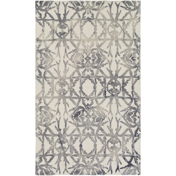 Glenmoor Hand-Tufted Ash Gray/Off-White Area Rug by Ivy Bronx