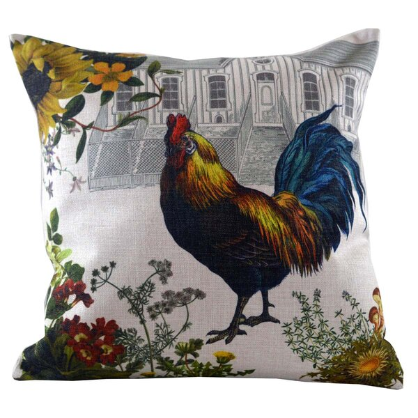 Rooster and Hen House Throw Pillow Cover by Golden Hill Studio