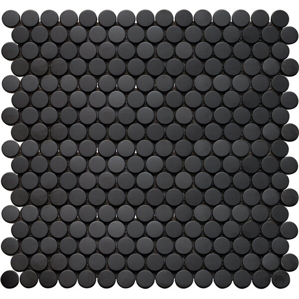 Inox Penny Round 12 x 12 Glass Mosaic Tile in Black by Interceramic