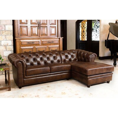 Darby Home Leather Right Hand Facing Sectional Sectionals