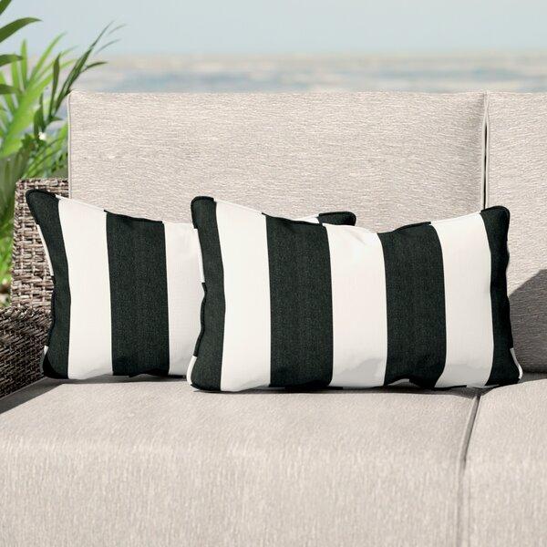 Elston Indoor/Outdoor Sunbrella Lumbar Pillow (Set of 2) by Beachcrest Home