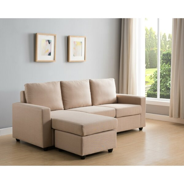 Karina Wood and Fabric Right Hand Facing Sectional with Ottoman by Wrought Studio