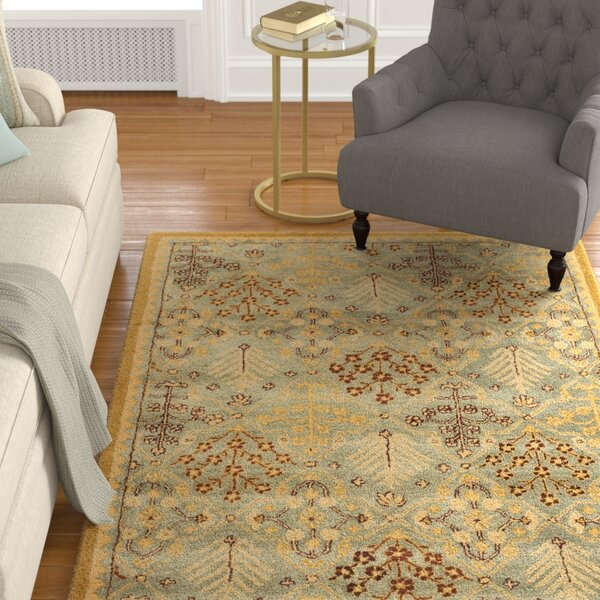 Dunbar Light Blue/Gold Area Rug by Charlton Home