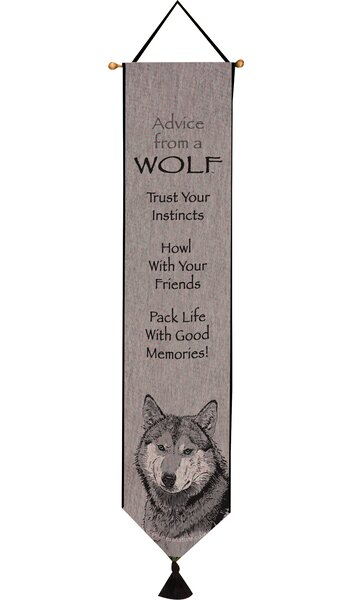 Advice from a Wolf Bell Pull Tapestry and Wall Hanging by Manual Woodworkers & Weavers