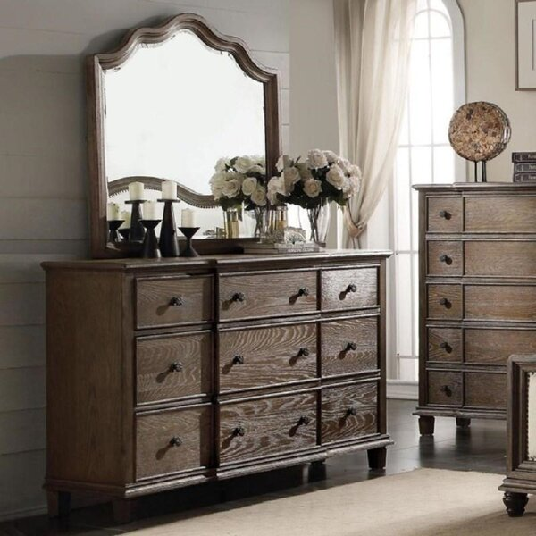 9 Drawers Double Dresser with Mirror by Alcott Hill
