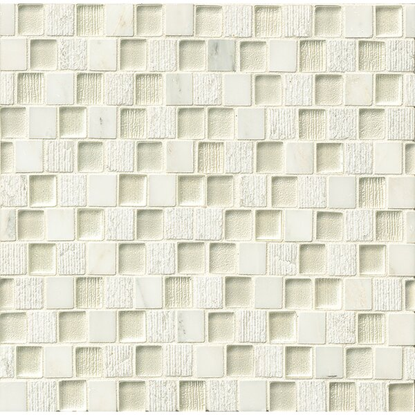 Tessuto 0.75 x 1 Stone and Glass Mosaic Tile in White by Bedrosians
