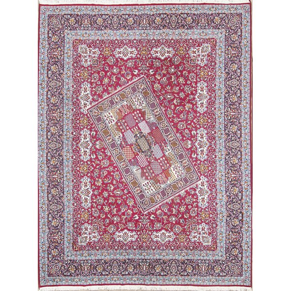 Paloma Traditional Soft Plush Floral Classical Kashmar Persian Burgundy/Blue Area Rug by Isabelline