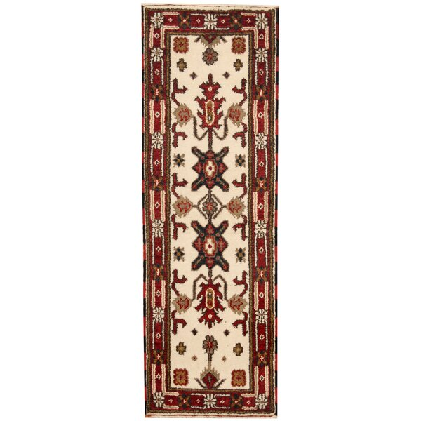 Kazak Hand-Knotted Ivory/Red Area Rug by Herat Oriental