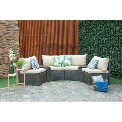 Lorelai 6 Piece Conversation Set Sofa Seating Group with Cushions Beachcrest Home Cushion Color (Fabric): Beige, Frame Finish: Espresso Resin Wicker