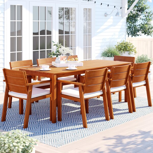 Brighton 9 Piece Wood Dining Set with Cushions by Sol 72 Outdoor