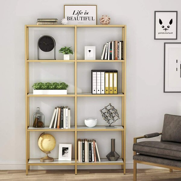 Witkowski Double Wide Geometric Bookcase By Everly Quinn