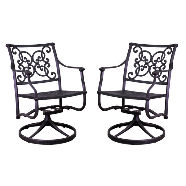 Fisher Swivel Patio Dining Chair (Set of 2) by Three Posts