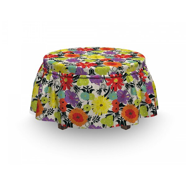Hand Drawn Petals Nature Ottoman Slipcover (Set Of 2) By East Urban Home