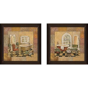 Spiced Bath' 2 Piece Framed Acrylic Painting Print Set Under Glass by Fleur De Lis Living