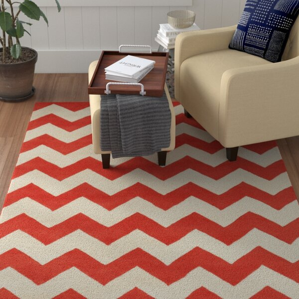 Ayler Orange / Ivory Chevron Area Rug by Winston Porter