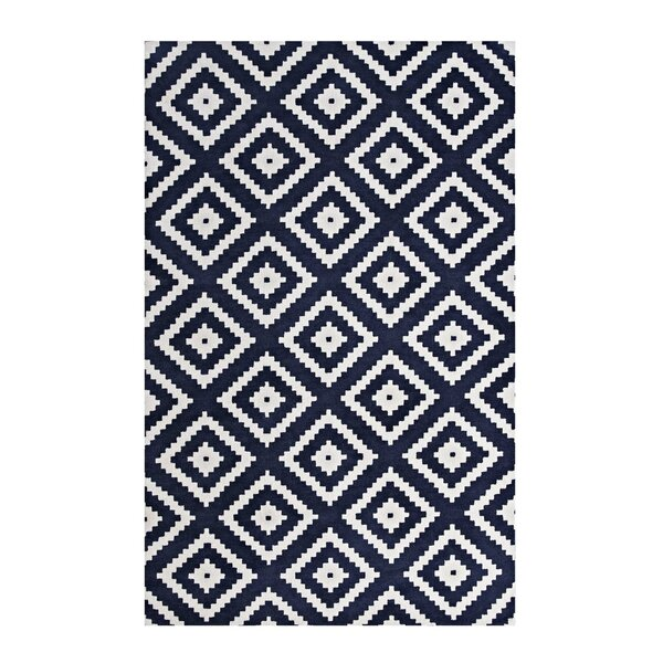 Shaunda Abstract Diamond Ivory/Navy Area Rug by Ivy Bronx