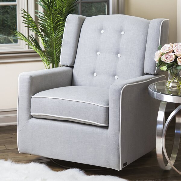 Crandell Swivel Glider with Piping by Harriet Bee