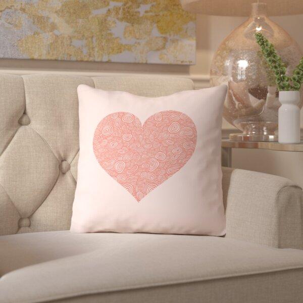 Brett Wilson Tanzanite Love Hearts Swirl Throw Pillow by House of Hampton