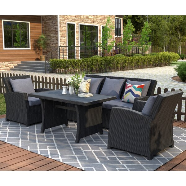Conyngham 4 Piece Rattan Sofa Seating Group with Cushions