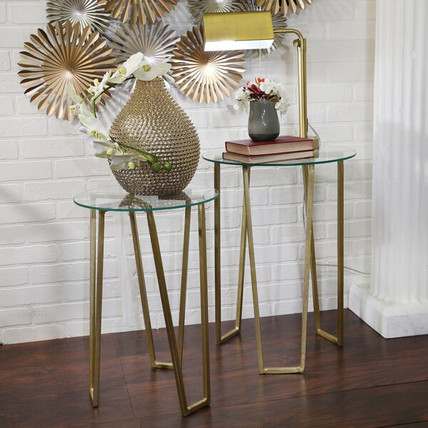 Gedrie 2 Piece Metal End Table Set by Mercer41