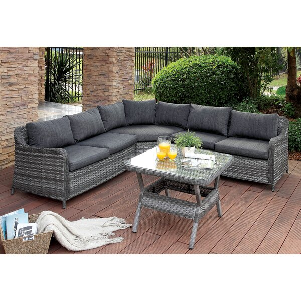 Annetta Hollister 4 Piece Rattan Sectional Seating Group with Cushions by Red Barrel Studio