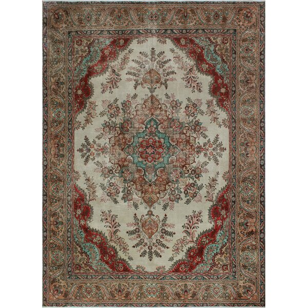 One-of-a-Kind Millikan Distressed Evelyn Hand-Knotted Wool Ivory Area Rug by Bloomsbury Market