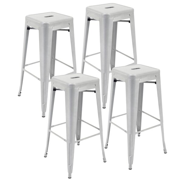 Felan Stackable All-Weather Rust-Resistant Metal 30-inch Patio Bar Stool (Set Of 4) By Ivy Bronx