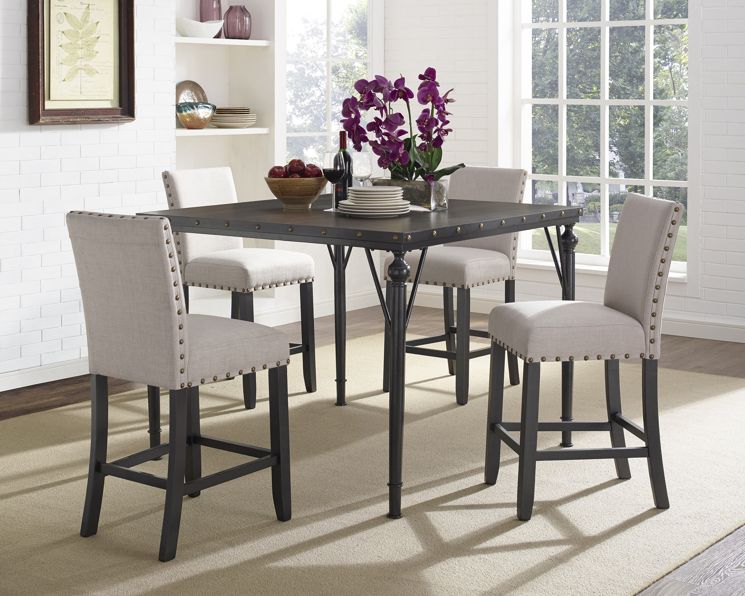 best cheap a2502 0cea4 Haysi Wood Counter Height 5 Piece Dining Set with Fabric Nailhead Chairs