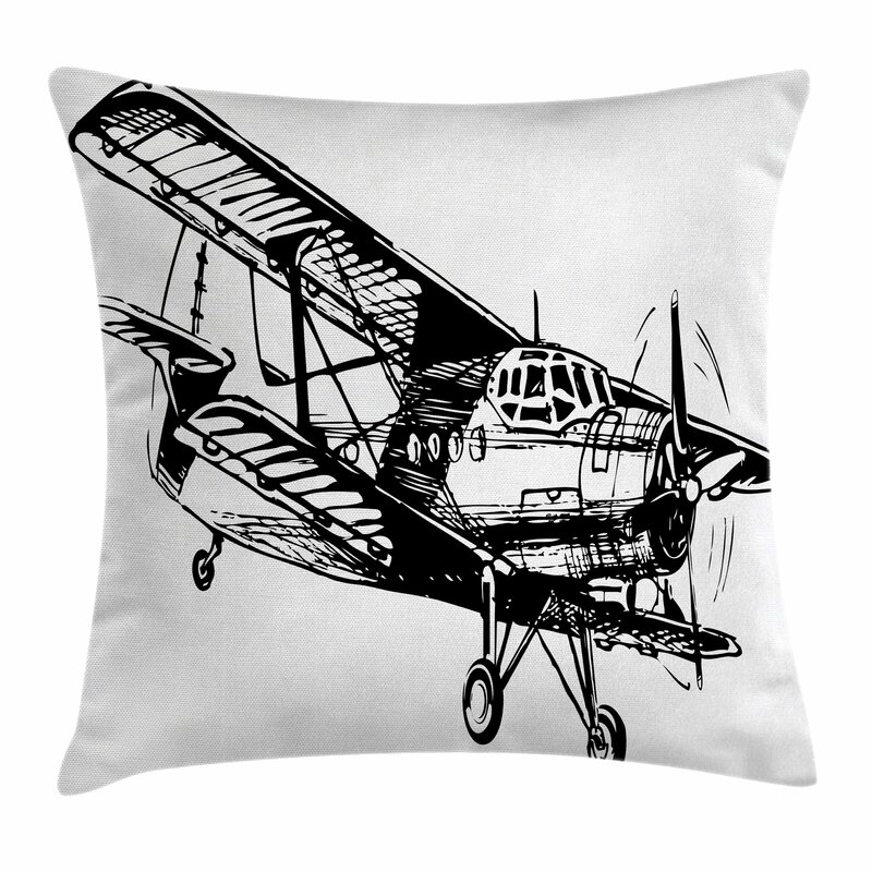 East Urban Home Vintage Airplane Sketch Art Square Pillow Cover