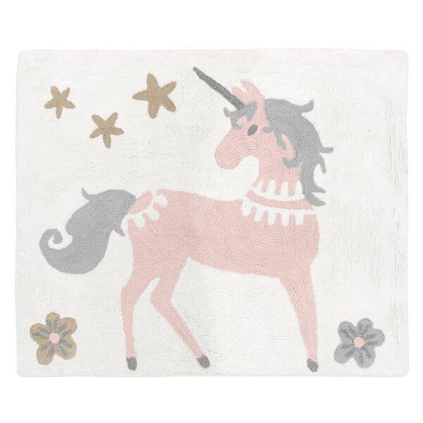Unicorn Hand-Tufted Cotton Blush Pink/Gray Area Rug by Sweet Jojo Designs