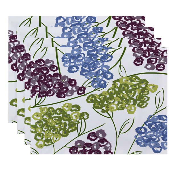 Elma Hydrangeas Floral Print Placemat (Set of 4) by Three Posts