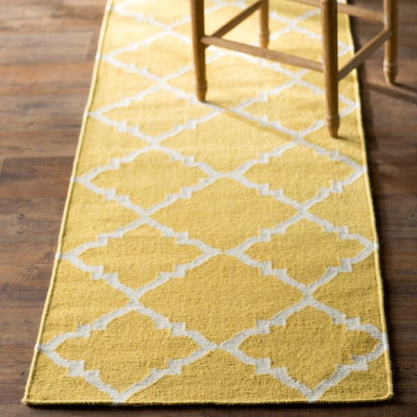 Hackbarth Hand-Woven Wool Gold Area Rug by Zoomie Kids
