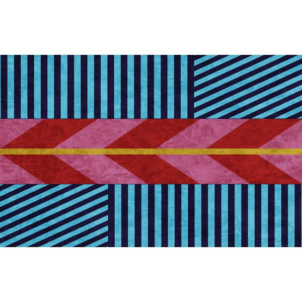 Aztec Blue/Pink Chevron Area Rug by Manual Woodworkers & Weavers