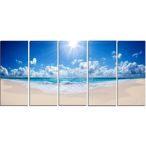 'Beautiful Tropical Beach Panorama' 5 Piece Photographic Print on Wrapped Canvas Set by Design Art