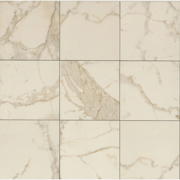 Classic Moderne 18 x 18 Porcelain Field Tile in Calacatta by Grayson Martin