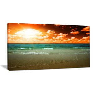Dramatic Sky Over Tropical Sea Beach Seashore Photographic Print on Wrapped Canvas by Design Art