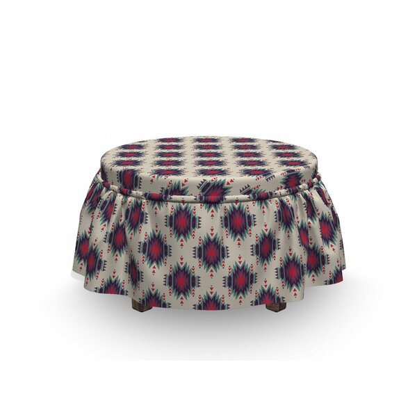 Ornamental Ethnic Motifs Ottoman Slipcover (Set Of 2) By East Urban Home