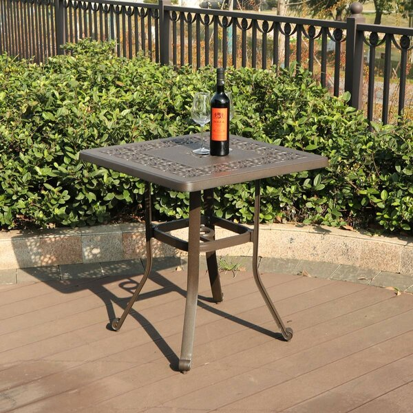 Patio Square Cast Aluminum Bistro Table by PHI VILLA